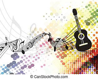 nota, playe, fundo, música, guitarra
