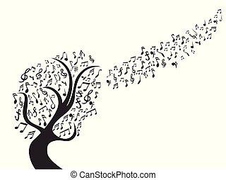 nota, pretas, música, árvore