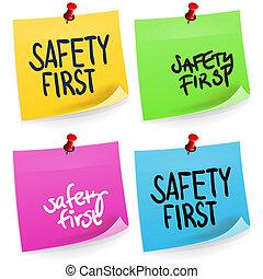 nota, primero, seguridad, pegajoso