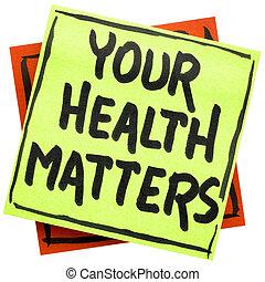 nota, questões, lembrete, saúde, seu