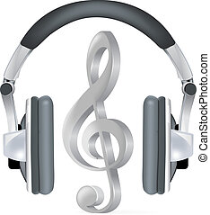 nota, realista, auriculares, música