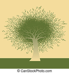 nota, resumen, árbol, musical