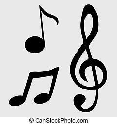 nota, símbolos, vetorial, música, ilustração