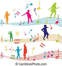 nota, silhuetas, crianças, música, dançar