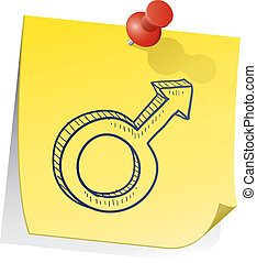 nota, simbolo genere, maschio, appiccicoso