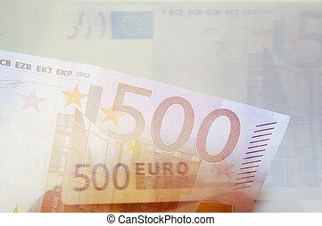 nota, soldi, 500, banca, euro