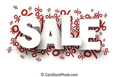 nota, sopra, carta, percento, signs., vendita