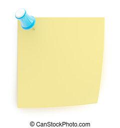 nota, sticked, copyspace, puntina da disegno