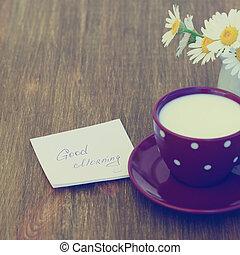 nota, stile, buono, tazza, legno, foto, margherita, mattina, rustico, fondo., vendemmia, fiori, latte