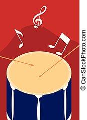 nota, tambor, sticsk, fundo, musical