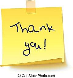"""nota, texto, amarela, pegajoso, """"thank, you!"""""""