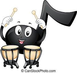 nota, timpani, música, mascota