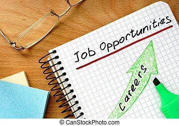 nota, trabalho, palavras, oportunidades