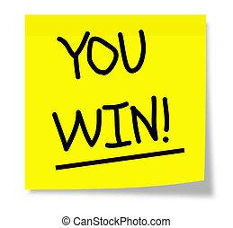 nota, usted, win!, pegajoso