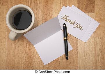 nota, usted, y, café, agradecer