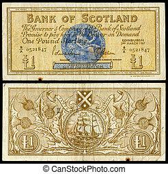 nota, vecchio, banca, scozzese