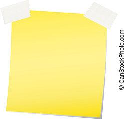 nota, vector, amarillo, pegajoso