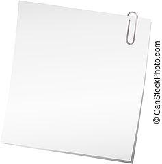 nota, vetorial, clipe para papel, pegajoso