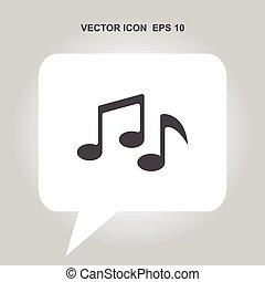 nota, vetorial, música, ícone