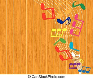 nota, vetorial, música, fundo