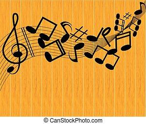 nota, vettore, musica, fondo