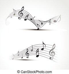 nota, vettore, musica
