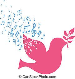 nota, voando, paz, pomba, musical