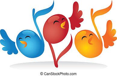 nota, zpěv, hudební, ptáci