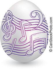 notación musical, en, huevo de pascua