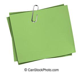 notare carta, affari verdi, clip