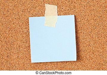 notare carta, su, corkboard