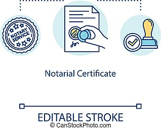 Notarial certificate concept icon. Notarization for official...