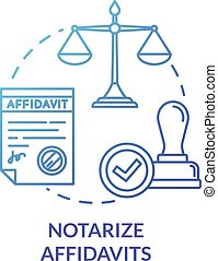 Notarize affidavits blue concept icon. Legal paper. Ownership claim. Jury verdict. Courthouse process. Notary service idea thin line illustration. Vector isolated outline RGB color drawing
