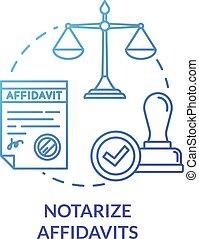 Notarize affidavits blue concept icon. Legal paper. ...