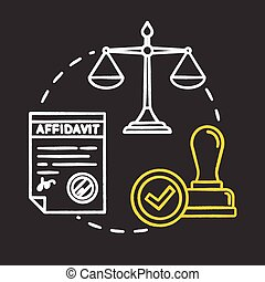 Notarize affidavits chalk RGB color concept icon. Ownership claim. Jury verdict. Courthouse process. Notary service idea. Vector isolated chalkboard illustration on black background