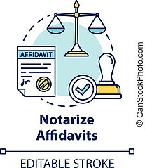 Notarize affidavits concept icon. Ownership claim. Jury verdict. Courthouse process. Notary service idea thin line illustration. Vector isolated outline RGB color drawing. Editable stroke