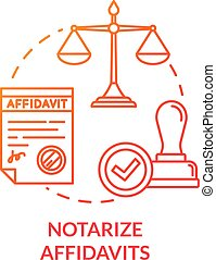 Notarize affidavits red concept icon. Official document. Ownership claim. Jury verdict. Courthouse process. Notary service idea thin line illustration. Vector isolated outline RGB color drawing