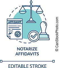 Notarize affidavits turquoise concept icon. Ownership claim. Jury verdict. Legal statement. Notary service idea thin line illustration. Vector isolated outline RGB color drawing. Editable stroke