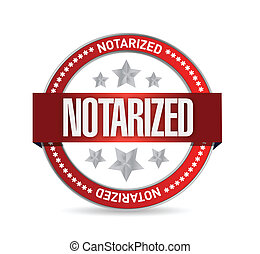 notarized seal illustration design over a white background