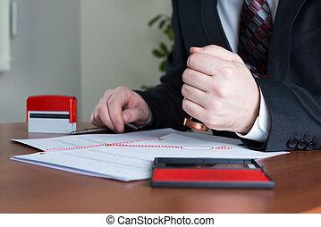 notary, コピー, 押すこと, 公衆, 証明される