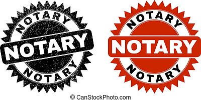 Black rosette NOTARY watermark. Flat vector grunge watermark with NOTARY text inside sharp rosette, and original clean template. Watermark with unclean style.