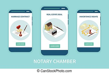Notary chamber mobile app concept with marriage contract real estate deals inheritance rights functions on smartphone screens isometric vector illustration