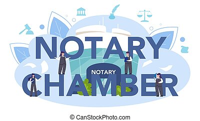 Notary Chamber typographic header. Professional lawyer signing and legalizing paper document. Person witnessing signatures on document. Isolated flat vector illustration