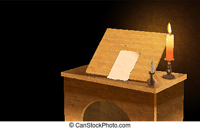 notary desk - vector medieval notary desk, eps 10 file,...