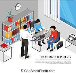 Notary Documents Execution Isometric Illustration - Notary ...