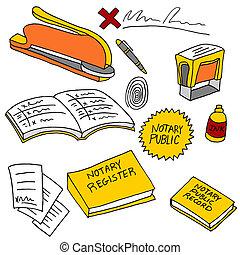 notary, público, itens
