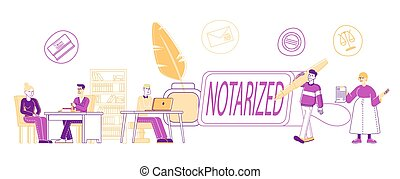 Notary Professional Service Concept. People Visiting ...