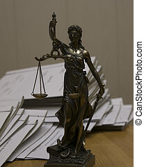 Notary public tools. Themis with scales of justice and...