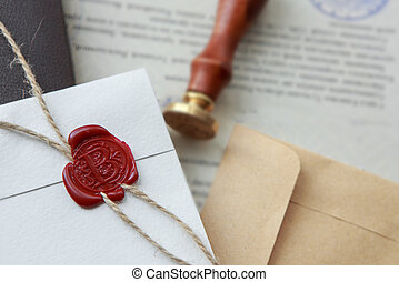Notary public wax stamp - seal on notarized document -...