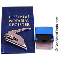 An official notarial register, embosser, and stamp isolated on white with clipping path